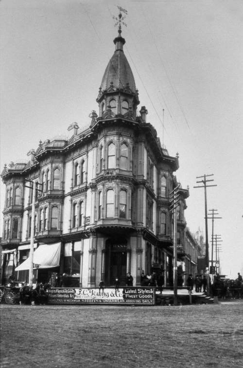 The Yesler-Leary Building on the northwest corner of what was then Front Street (First Ave.) and Mill Street (Yesler Way.)  Built by Ranke in the mid-1880s, razed by the 1889 fire.
