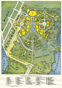 An early map for the Alaska Yukon Pacific Expo on the U.W. campus in 1909.