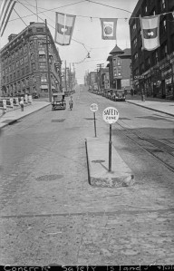 A public works photo of a  recently installed Concrete Safety Island on Yesler east of Third.  (Courtesy Seattle City Archive)