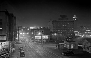 Looking south on 5t Avenue from its Yesler Way overpass circa 1950, long before the Kingdome and SODO.