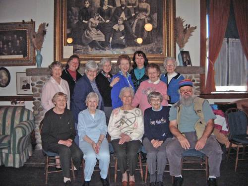 I'm posing here in 2003 with a few of the Daughters of the Pioneers at Pioneer  Hall beside Madison Park.  For many years I visited with the daughters once a year carrying with me a slide show of some interest to them.
