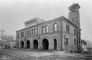 Seattle's post-1889 fire headquarters at the southwest corner of 7th Ave. and Columbia Street, and so for most of its life - although not in this early Wilse shot form the 1890s - across 7th Avenue from both the Zindorf and Columbia Apartment.  (Courtesy Lawton Gowey)