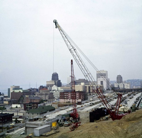 Frank Shaw's advancing concrete recorded on August 15, 1964, looking north from near 7th and Jefferson.