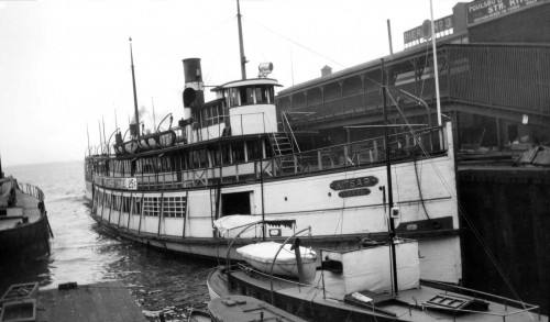 The KITSAP at the Fire Station side (south) of Pier 3/54 ca. 1912.