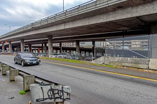 """NOW: To reach a proper """"now"""" required Jean Sherrard to cross traffic and explore the underbelly of the Seattle Freeway.  Columbia Street does not make it through the freeway."""
