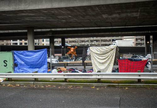 Looking west at the homeless encampment under the freeway