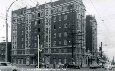Columbus Hospital at the southwest corner of Madison Street and Boren Avenue.  Photo by the prolific postcard photographer, Ellis.