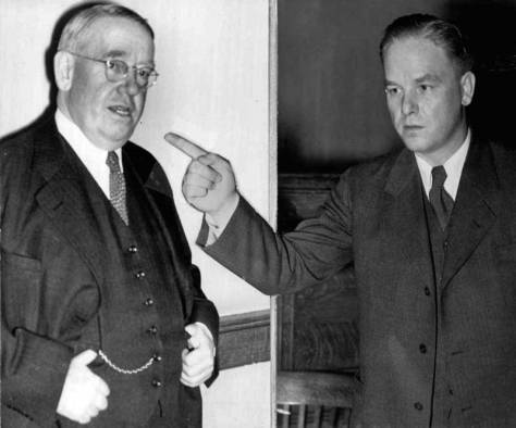 1935 press collage of defense lawyer John Dore, left, facing prosecutor   , right.