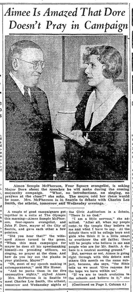 The mayor takes a photo opportunity with seductive evangelist and gospel monger who prefered to be known as Sister Aimee (McPherson).  During their meeting the Evangelist criticized the mayor for not using prayer during his campaign for reelection.  The Times clip dates from Jan. 15, 1934.
