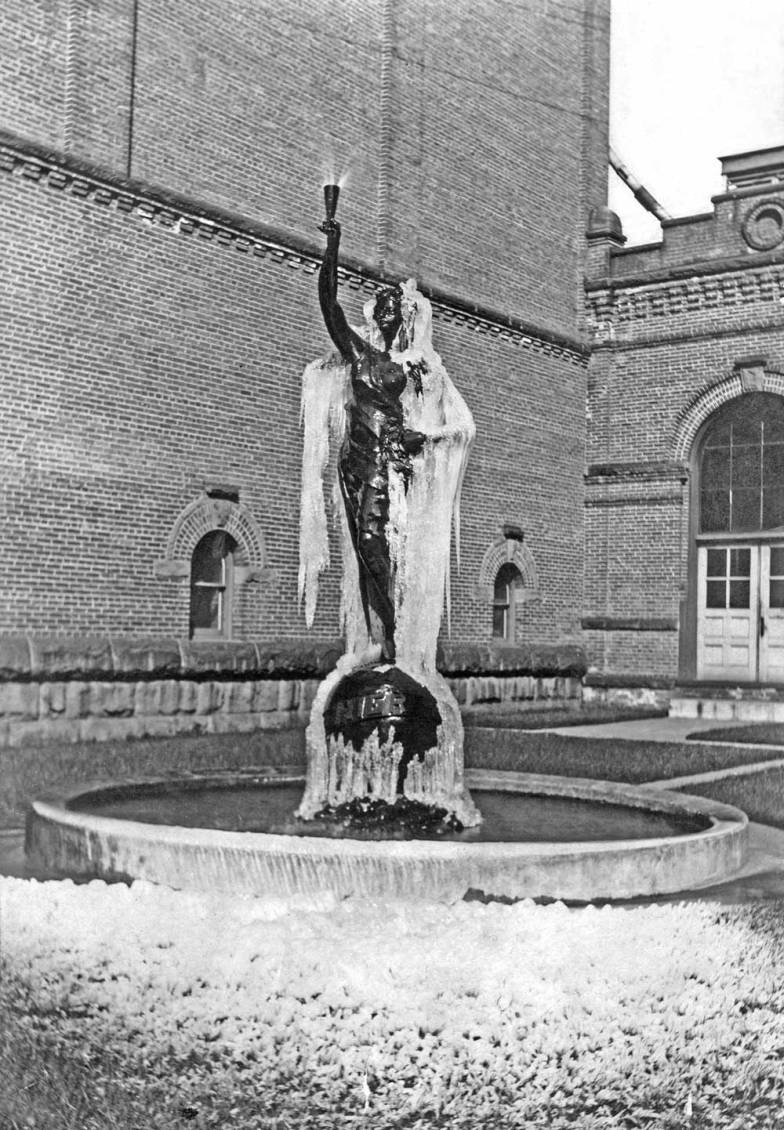 THEN: Sometime before her first move from this brewery courtyard in 1912, Lady Rainier was moved by a freeze to these sensational effects. She did not turn her fountain off. (Courtesy of Frank & Margaret Fickeisen)