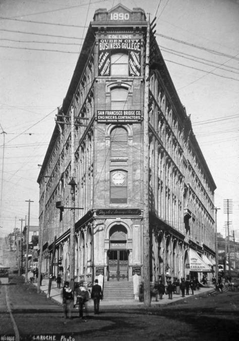 "The COLLINS Building in the early 1890s, photographed by LaRoche.  Better known as the Seattle Hotel, it has been replaced since 1961 by the ""Sinking Ship Parking Garage"" in the flat-iron block bordered by Second Avenue, James Street and Yesler Way.  This view looks east from Pioneer Place, aka Pioneer Square."
