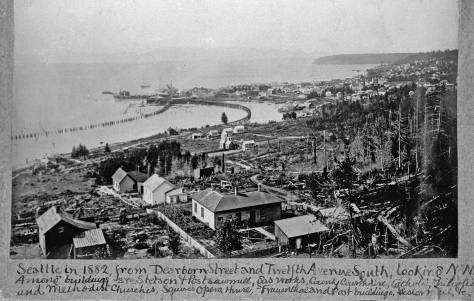 Frame in one of pioneer historian Prosch's albums, Seattle in 1882 from Beacon Hill with Piner's Point (now the Pioneer Square Historic District) extending as far south as King Street.  (Courtesy University of Washington Libraries, Special Collections.)