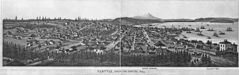 The title for his centerfold to a late 1880s book of Seattle scenes is evidence of Arthur Denny's intentions them to root the state capitol away from Olympia and plant in on the his hill that would after his kidnapping failure be named Denny Hill for him.