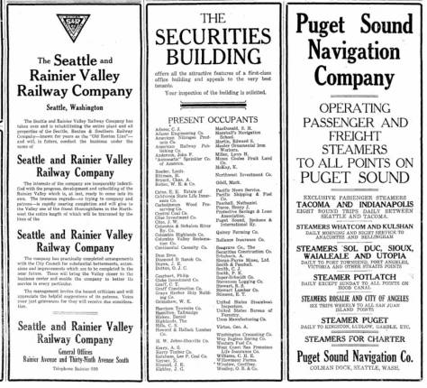 Another Securities Building ad, this one listing the tenants, including the