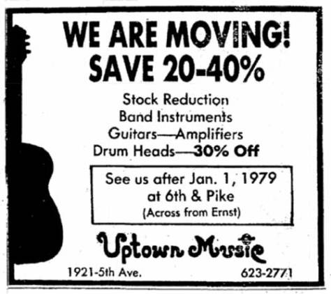 Uptown Music announces that it is leaving 1921 5th with, of course, a moving sale.