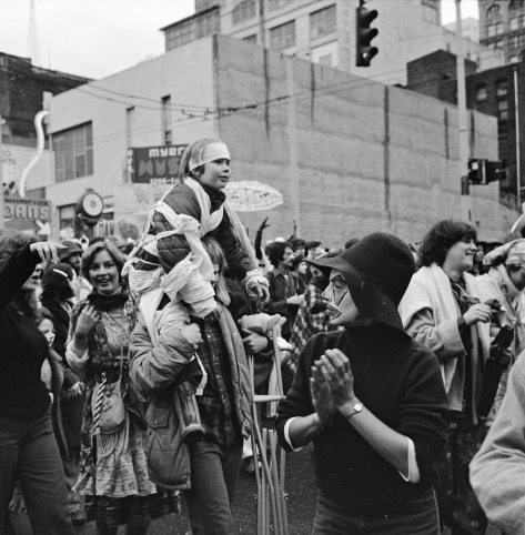 "Less than three years later, a sampling of Friends of the Rag head south on First Ave., with landmark Myres Music at 1216 and so across the street from ""the hole,"" during the Fat Tuesday Parade on Feb. 18, 1978."