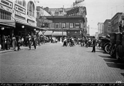 "Looking east from the ""elbow"" in 1919 with the then seven-year-old Corner Market Building on the left.  (Courtesy, Municipal Archive)"