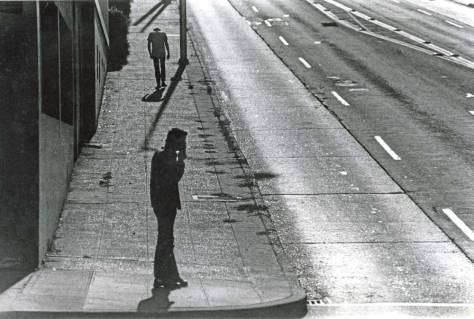 Pedestrians at the corner, 1972.