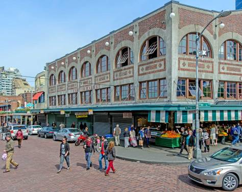 NOW: Jean Sherrard captured the agreeable exterior of the restored Corner Market Building on this spring's sunny Easter Sunday.