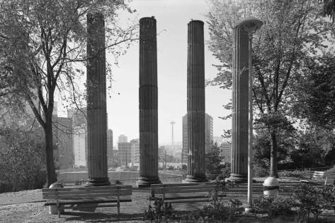 The enduring Plymouth Pillars at the northwest corner of Boren and Pike.