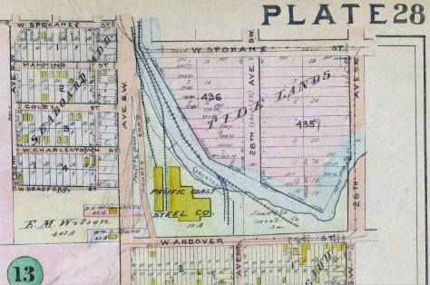 A detail from the 1912 Baist Real Estate Map with Spokane Street at the top and the Youngstown neighborhood at the bottom and south of Andover Street.
