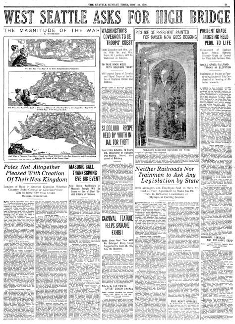 A pull-page from The Seattle Times on Nov. 26, 1916.  Click it - perhaps more than once.