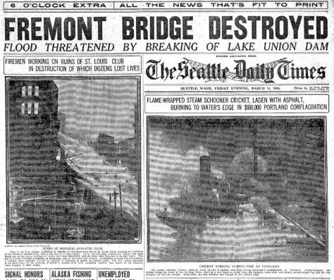 Front page - top half - of The Seattle Times March 13, 1914 issue.