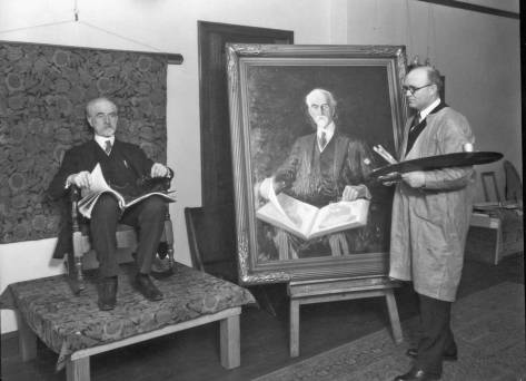 Handsome, statuesque, professorial, and a good poser, Ed Meany was often painted ad photographed.  The artist here is unknown - by me, at least.  Nor do I remember the painting.
