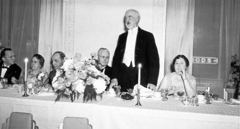 Edmond Meany at the 1931 inauguration banquet for the opening of his namesake hotel.   (Courtesy, U.W.Libraries)