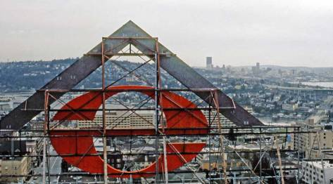 "The back of the Safeco roof-top sign seen from the Meany Hotel, ca. 1969.  I remember the message of its reader-board, ""Big Brother is Watching."""