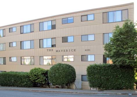 The embarrassingly plain and sensationally named - for hormone-driven students - Maverick Apartments take the place and more of the community's first church.