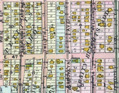 A detail pulled from the 1908 Baist Real Estate map with the intersection of Brooklyn Ave. and 47th Street right-of-center.