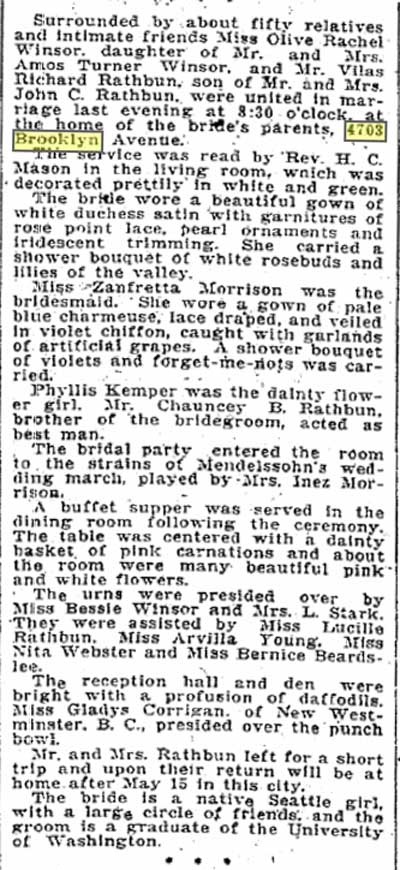 April 17,1913 Wedding report for