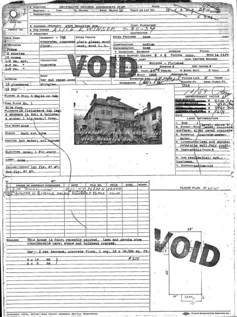"""Void"" from some other but us dear reader.  This is, of course, the tax card generated by the Works Progress Administration in the late 1930s for its inventory of every taxable property in King County.  Many unregistered structures were found in the tax-enriching process.  (Courtesy, Washington State Archive, Bellevue branch)"