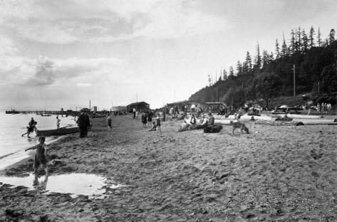 Golden Gardens beach with Meadows Point beyond.  (Courtesy, MOHAI)