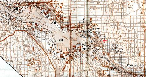 This helpful map drawn by the U.S. Dept of Commerce about a quarter-century ago, shows the shoreline of Salmon Bay before and after the filling of it behind the Chittenden Locks in 1916.  This is a detail from the larger map that also shows the changes for all of the canal and the lakes too.