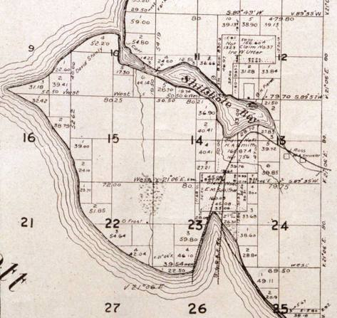 Salmon Bay - and Magnolia - as the federal surveyors first drew it in the late 1850s.  Note where the bay is met by the creek near the right border.