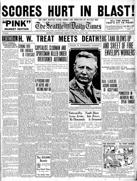 A Times front page for July 31, 1922 report on the death of Harry Treat.