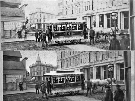 Returning to the Occidental Hotel, here also photographed from Occidental Avenue, then still named Second Avenue.  The date is 1884, the year for the beginning of Seattle's horse-drawn trolley.  (Courtesy, MOHAI)