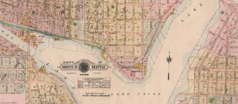 """Click or """"click click"""" to enlarge this melding of two pages from the 1908 Baist Real Estate Map (used often here.) Ewing and Densmore are easily found as is the Fremont Mill and, by then, the first high bridge too"""