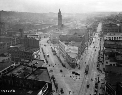 The completed Second Ave. extension recorded by a municipal photographer from the Smith Tower on June 11, 1929.