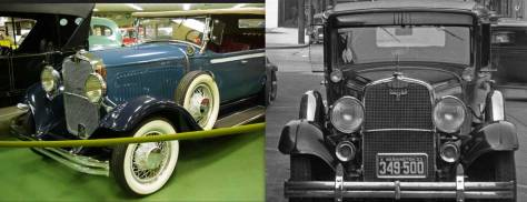 Our only evidence for dubbing this a 1930 Dodge.  The restored Dodge (in color) is identified as from 1930. (Courtesy, World Wide Web)