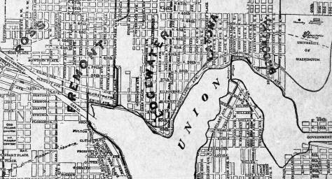 On this north shore map from the 1890s Wallingford is not  yet noted.  Rather, Edgewater stretches from Fremont as far east as Latona.