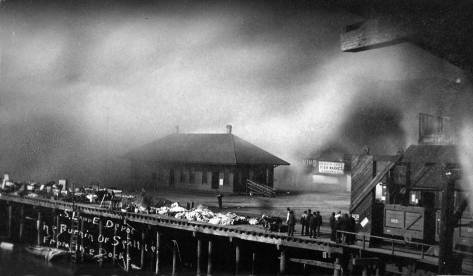 Seattle's Great Fire of June 6, 1889 reaches the foot of Columbia and the depot for the Seattle Lake Shore and Eastern Railway, and will soon consume it and everything south of it to the tideflats.