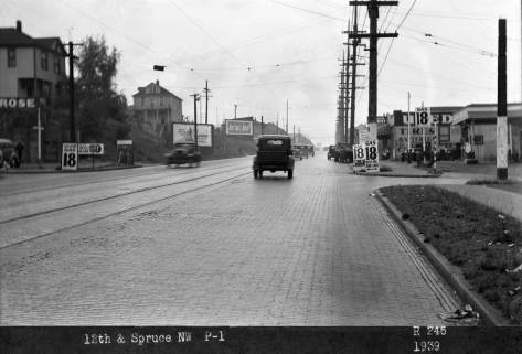 Twelfth Ave. looking north thru Fir Street corner,