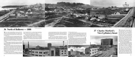 Four pages merged from Seattle Now and Then Vol. 3.  Click to enlarge, and perhaps read.  The panorama looks north from the back porch of the Bell Hotel at the southeast corner of First and Battery.  The still somewhat forrested Queen Anne Hill marks the horizon at the center.  First Ave. (Front Street) extends north on the left, and Battery Street runs east, on the right.  There also Denny School stands out at the northeast corner of 5th Avenue and Battery.  The photo was taken by Morford, courtesy Kurt Jackson.