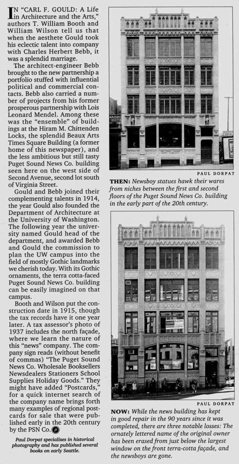 "The Puget Sound News Company building ""filled the bleachers"""