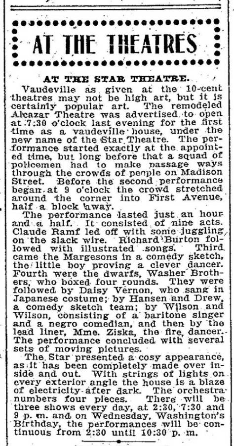 The Seattle Times Feb. 26, 1905 review of the Star Theatre.