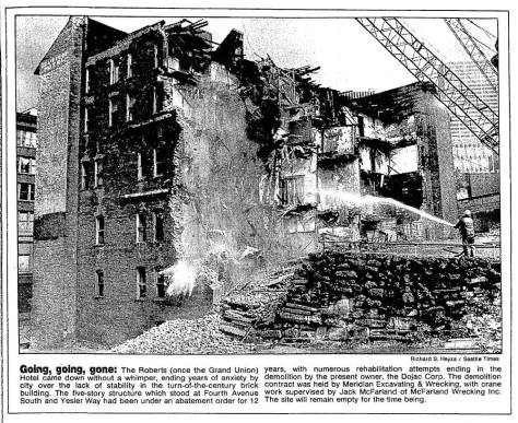 Verily, the Grand Union Hotel's destruction as recorded in The Seattle Times for May 15, 1983.