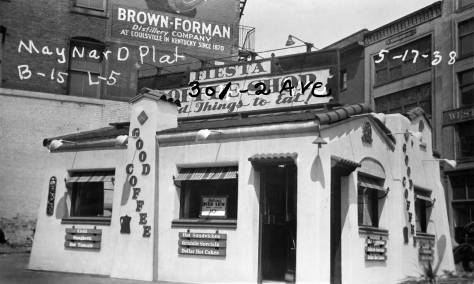THEN: Sitting on a small triangle at the odd northwest corner of Third Avenue and the Second Ave. S. Extension, the Fiesta Coffee Shop was photographed and captioned, along with all taxable structures in King County, by Works Progress Administration photographers during the lingering Great Depression of the late 1930s. (Courtesy, Washington State Archive's Puget Sound Branch)
